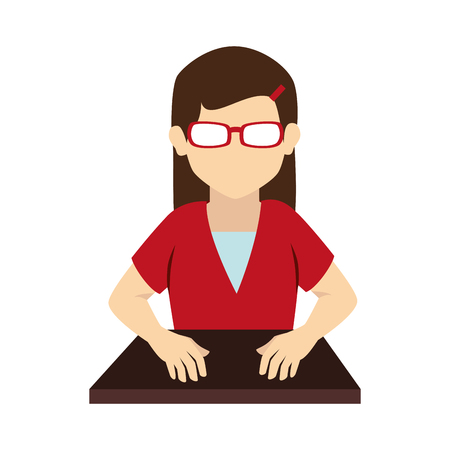 front desk: woman glasses student on desk hands hair uniform front head vector graphic isolated and flat illustration