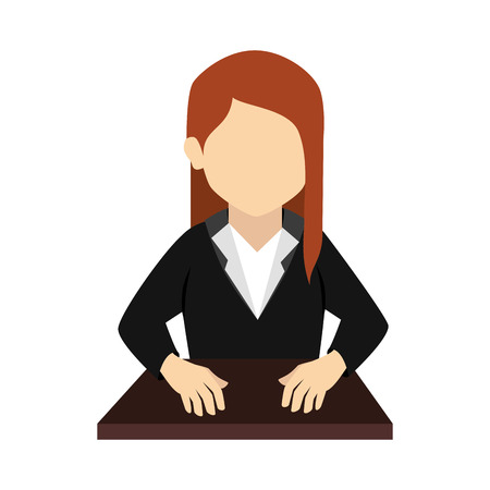 front desk: woman bussinesswoman girl on desk hands hair uniform front head vector graphic isolated and flat illustration Illustration