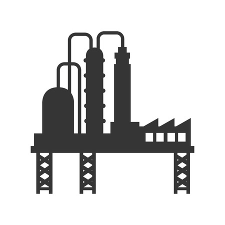 distillery: plant chemistry tower pipe engineering distillery factory structure industry vector graphic isolated and flat illustration Illustration