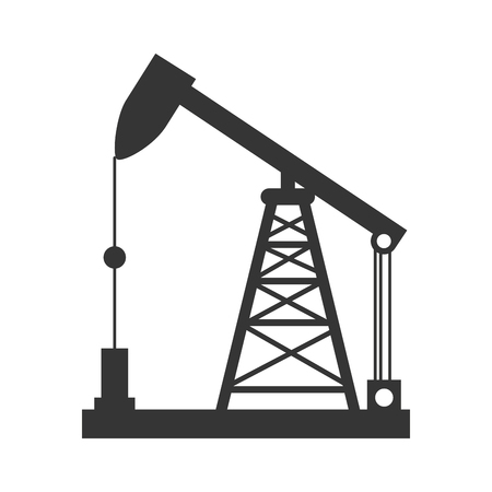 distillation: oil rig tower crane drilling industry petrol vector graphic isolated and flat illustration