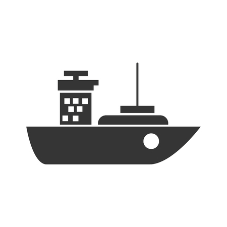 ship package: ship cargo industry tower sea package transport vector graphic isolated and flat illustration