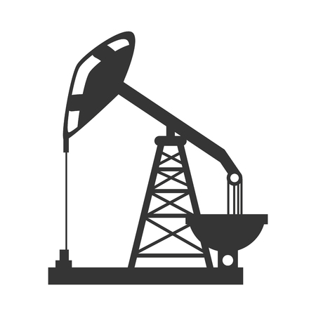 tower crane: oil rig tower crane drilling industry petrol vector graphic isolated and flat illustration
