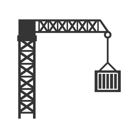 lifting hook: crane lifting box tower hook structure industry vector graphic isolated and flat illustration