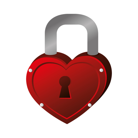 lock heart love hole metal key valentine vector graphic isolated and flat illustration