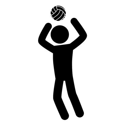 volleyball man pictogram playing pose sport person vector graphic isolated and flat illustration