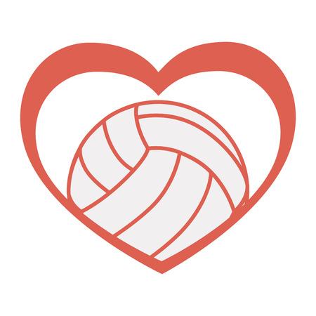 balon de voley: aislado amor voleibol corazón pasión bola emblema vector signo gráfico y la ilustración plana