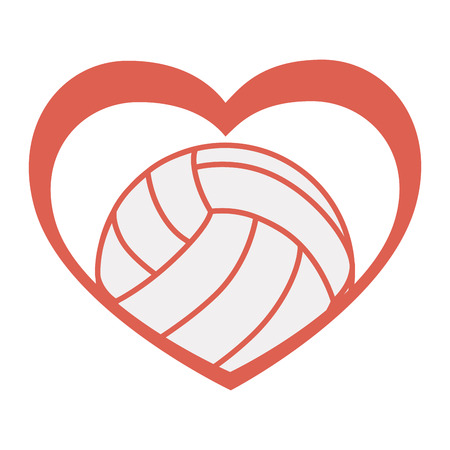 balloon volleyball: love volleyball passion heart ball emblem sign vector graphic isolated and flat illustration Vectores