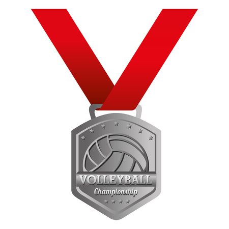 runner up: volleyball medal ball winner champion place best competition vector graphic isolated  illustration Illustration
