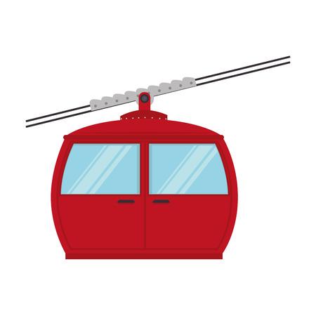 cable railway transport cabine snow winter elevator vector graphic isolated illustration Ilustração