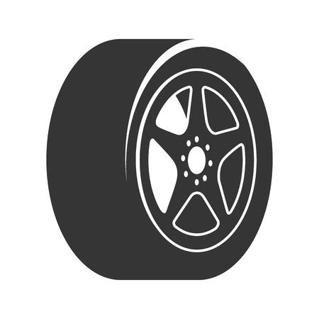 縁車ホイール タイヤ メタリックのモダンなメカニカル ディスク グラフィック分離ベクトル図