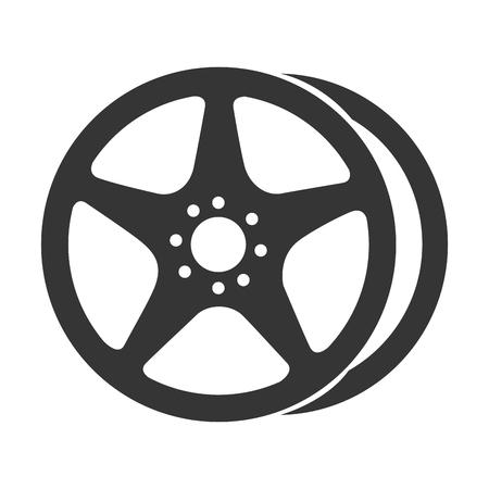 rim car wheel tire metalic modern mechanical disk vector graphic isolated illustration Illustration