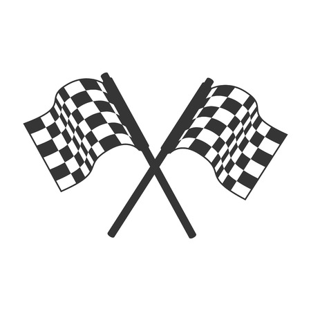 racing checkered flag crossed: flag race icon formula racing rally competition cart vector graphic isolated and flat illustration