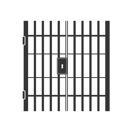 illegal act: jail bars key hole lock nobody crime law jailhouse vector graphic isolated and flat illustration Illustration