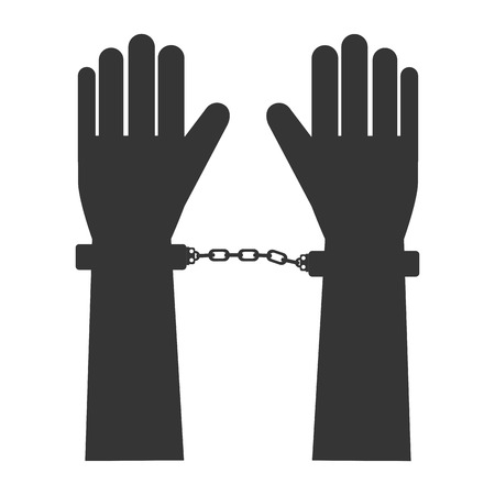handcuff: hand handcuff man person human fingers guilty crime vector graphic isolated and flat illustration