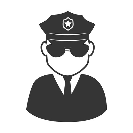 serious: policeman officer man glasses hat shield suit tie vector graphic isolated and flat illustration