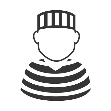 jail criminal prisioner person man striped vector graphic isolated and flat illustration