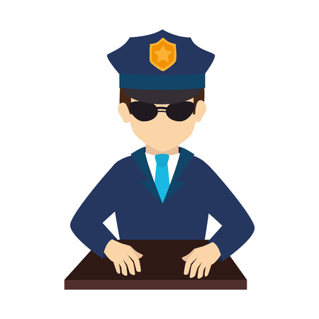 suit tie: policeman officer man glasses hat shield suit tie vector graphic isolated and flat illustration