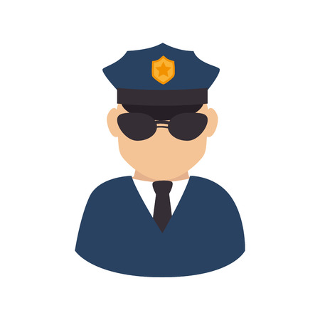 policeman officer man glasses hat shield suit tie vector graphic isolated and flat illustration