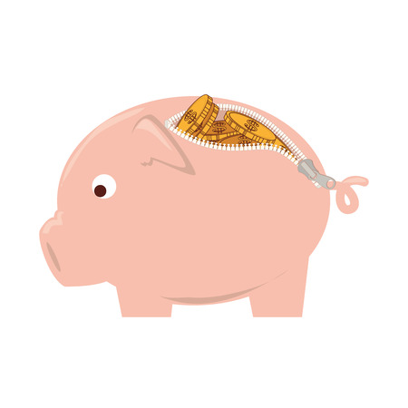 dime: purse piggy money finance pig eye cute coin zip zipper vector graphic isolated  illustration
