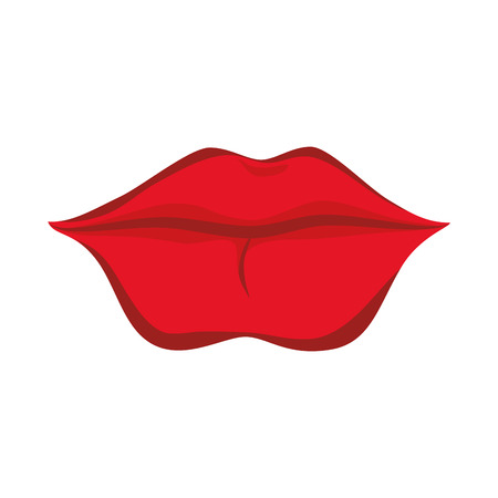 beso labios: mouth kiss lips sexy red women female glossy vector graphic illustrated isolated Vectores