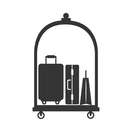 luggage carrier: hotel luggage service bags case suitcase modern cart vector graphic illustration isolated