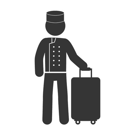 bellboy: bellboy bellman baggage man male hotel person uniform hat vector graphic isolated illustration