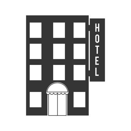 metropolis image: hotel building construction windows door elevator vector graphic isolated illustration