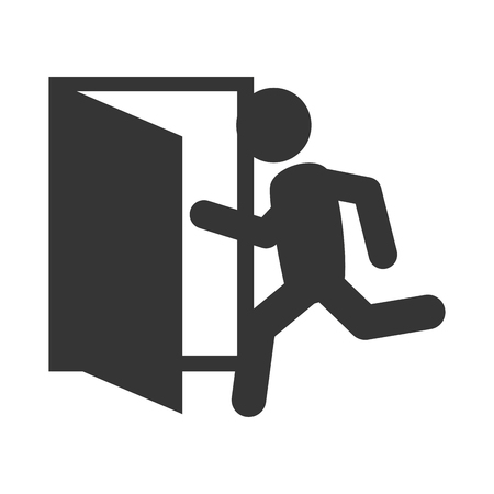 emergency exit sign icon: exit run door emergency escape sign icon vector graphic isolated illustration