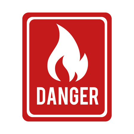 flammable warning: flame fire sign flammable danger warning burn vector graphic isolated illustration Illustration