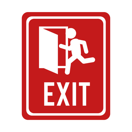 exit emergency sign: exit run door emergency escape sign icon vector graphic isolated illustration