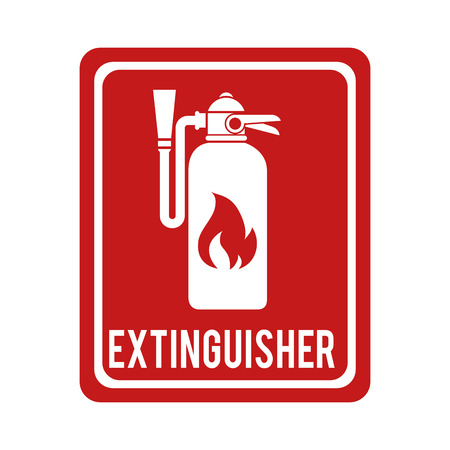 suppression: extinguisher sign flame foam bottle prevention fire vector graphic isolated illustration