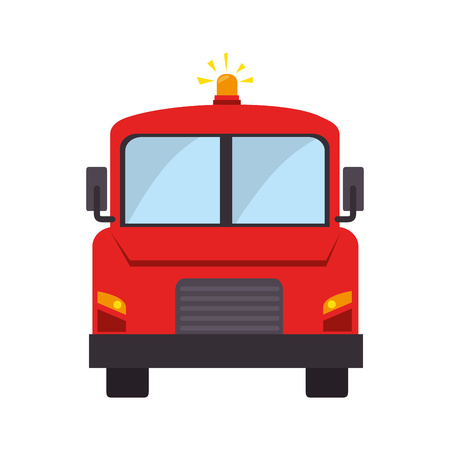 camion: firetruck front car camion fireman rescue hose button ladder vector graphic isolated illustration