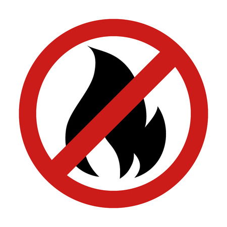 flammable: forbidden  flame fire sign flammable danger warning burn vector graphic isolated illustration