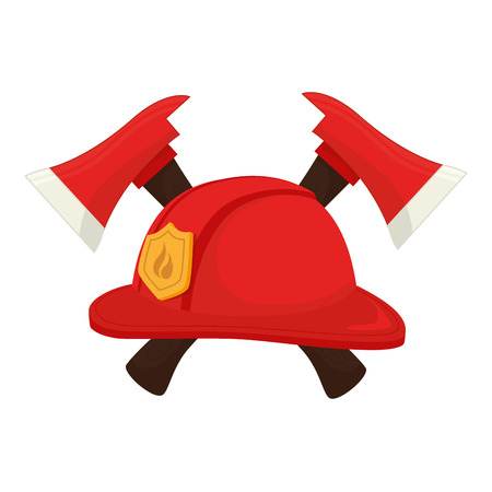 department head: hat fireman fire department cap equipment firefighter axe crossed vector graphic isolated illustration Illustration