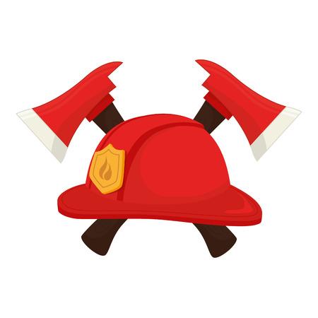 public servants: hat fireman fire department cap equipment firefighter axe crossed vector graphic isolated illustration Illustration