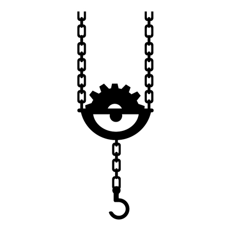pull: hook crane chain gear hang pull metal equipment work industry construction vector graphic isolated illustration Illustration
