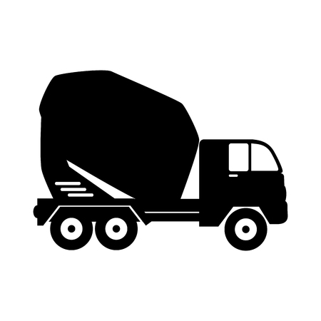 concreting: mixer concrete truck machinary cargo construction mix vector graphic isolated illustration Illustration