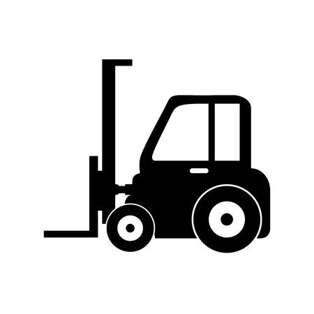 montacargas: carretilla elevadora tenedor de carga m�quina hidr�ulica del vector industrial gr�fico ilustraci�n