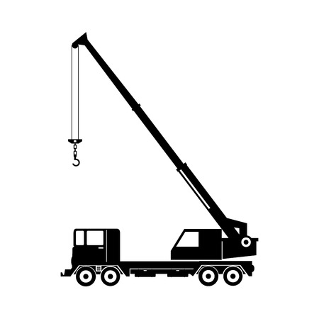 auto hoist: mobile truck crane industry hang lifter equipment vector graphic isolated illustration Illustration