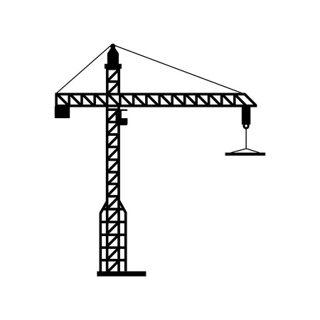crane tower: crane tower machinary hang hook construction industrial vector graphic isolated illustration
