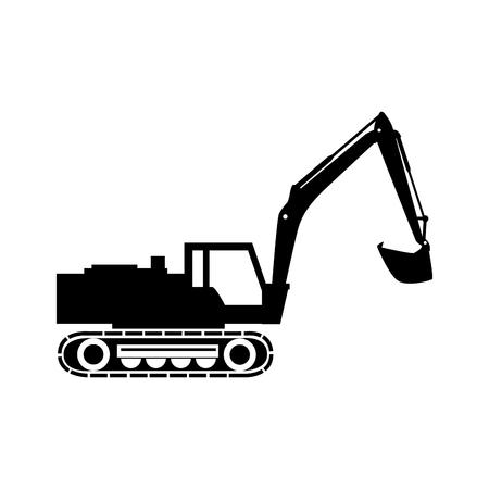 camión tractor excavadora maquinaria de construcción insdustry cuchara de excavación de máquinas de vectores gráfico ilustración aislada
