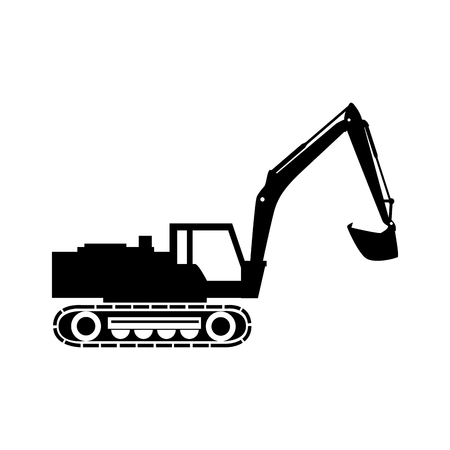 mine site: excavator truck tractor machinery insdustry construction scoop excavation machine vector graphic isolated illustration