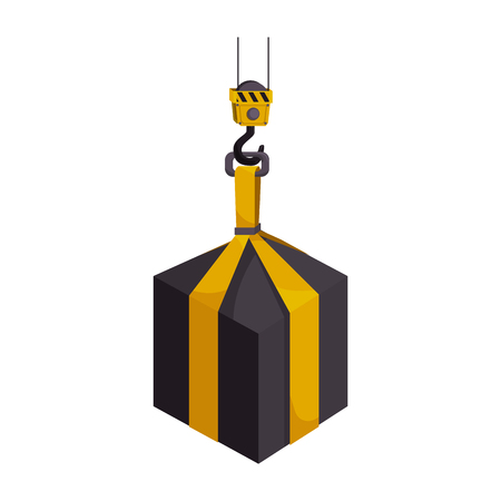 heavy weight: cargo hook hang hanging heavy object industry weight container vector graphic isolated illustration Illustration