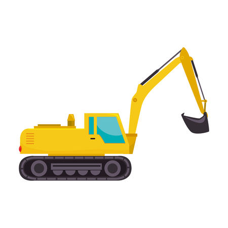earth mover: excavator truck tractor machinery insdustry construction scoop excavation machine vector graphic isolated illustration