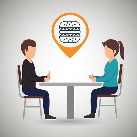 dinner date: couple sitting dinner vector illustration eps 10 Illustration