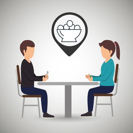 dinner date: couple sitting dinner vector illustration Illustration