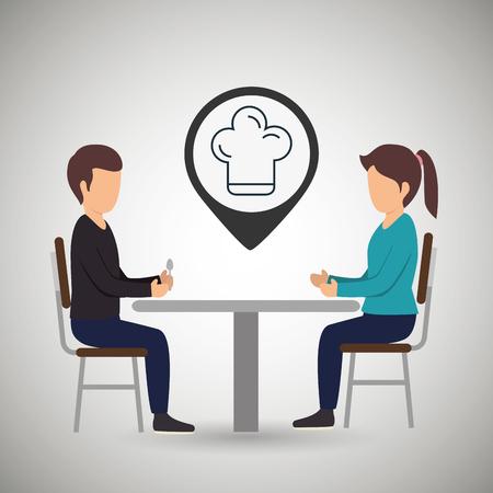 pareja comiendo: ilustración vectorial sentada la cena pareja