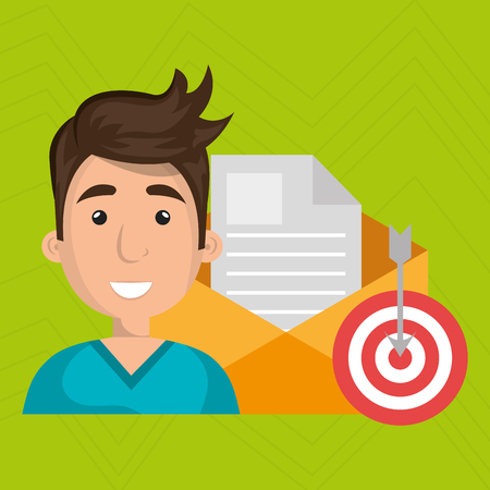 taget: man message document icon vector illustration graphic