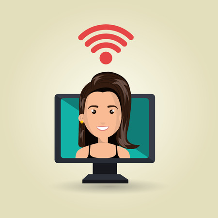 girl using laptop: woman pc wifi web vector illustration graphic