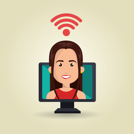 page long: woman pc wifi web vector illustration graphic